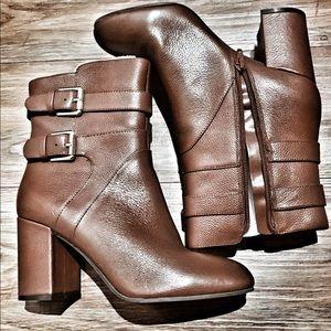 NINE WEST brown, buckle, zip up ankle booties.